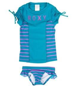 Roxy Girls' Running Wild Wave Rush S/S Rashguard Set (2-7)