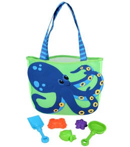 Stephen Joseph Kids' Octopus Beach Tote (Includes Sand Toy Set)