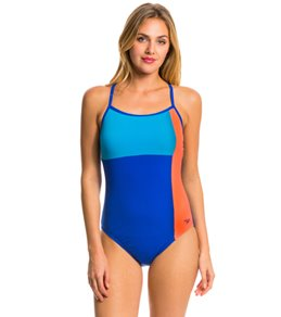 Speedo Color Block Thin Strap One Piece Swimsuit