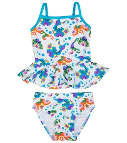 Flapdoodles Girls' Floral Fish Tankini Set (2T-4T)
