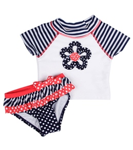 Flapdoodles Girls' Nautical Fun S/S Rashguard Set (12-24mos)