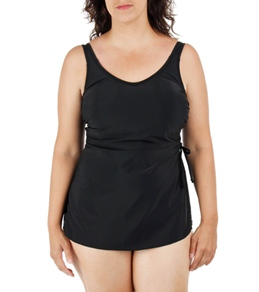 T.H.E Plus Size Solid Black Classic Sarong Front One Piece