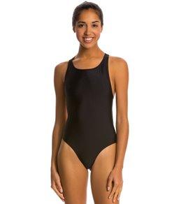Waterpro Solid Wide Strap One Piece Swimsuit