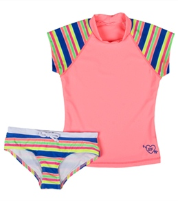 Seafolly Girls' Tropica Crush Surf Stripe S/S Rashguard Set (6-14)