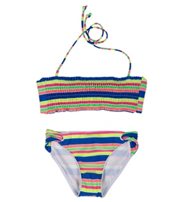Seafolly Girls' Tropica Crush Shirred Tube Bikini Set (6-16)