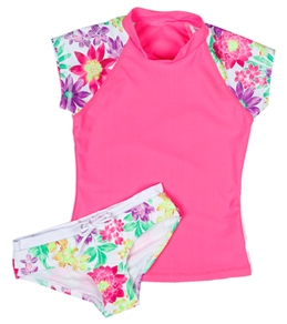 Seafolly Girls' Tropica Crush Surf S/S Rashguard Set (6-14)