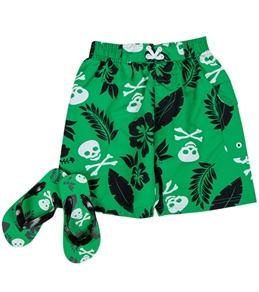 Jump N Splash Boys' Skull/Palm Swim Trunk w/ FREE Flipflops (4-14)