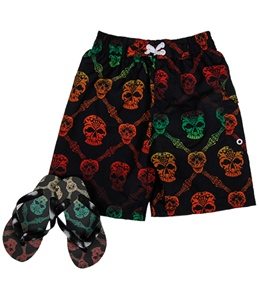 Jump N Splash Boys' Skull Swim Trunk w/ FREE Flipflops (4-14)