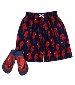 Jump N Splash Boys' Seahorse Swim Trunk w/ FREE Flipflops (4-14)