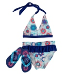 Jump N Splash Girls' Cotton Candy Halter Set w/ FREE Flipflops (4-12)