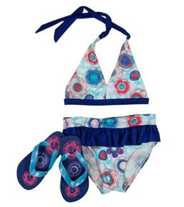 Jump N Splash Girls' Cotton Candy Halter Set w/ FREE Flipflops (4-12)