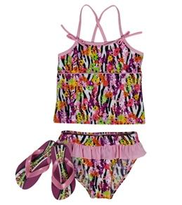 Jump N Splash Girls' Zebra Tankini Set w/ FREE Flipflops (4-12)