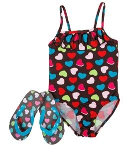 Jump N Splash Girls' Hearts One Piece w/ FREE Flipflops (4-12)