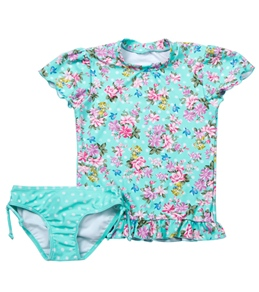 Seafolly Girls Kitchen Tea Sunvest S/S Rashguard Set (4-7)