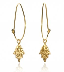 Satya Jewelry Gold Mini Hamsa Hoop Earrings