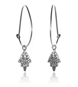 Satya Jewelry Sterling Silver Baroque Mini Hamsa Hoop Earrings