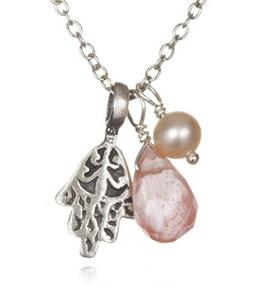 Satya Jewelry Cherry Quartz Protection Hamsa Necklace