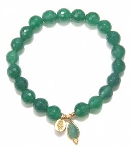 Satya Jewelry Green Onyx Hamsa Bracelet