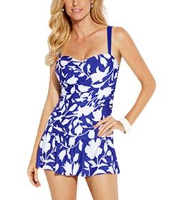 Jantzen Pop Floral Shirred Flounce Swim Dress