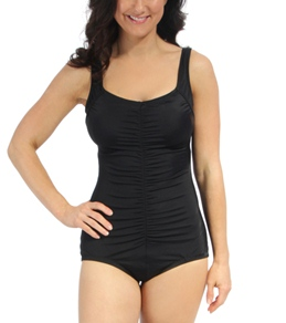 Maxine Tricot Shirred Front Girl Leg One Piece