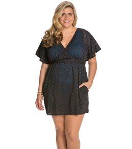 Sunsets Plus Size Coastal Crochet Black Getaway Surplice Dress