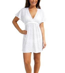 Sunsets Coastal Crochet White Getaway Surplice Dress