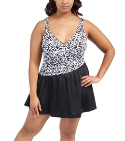 Maxine Plus Size Twist & Shout Asymmetrical Surplice Swim Dress
