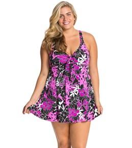 Penbrooke Exotic Journey Plus Size Bow Front Swim Dress