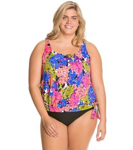 Penbrooke Tivoli Plus Size Banded Bottom Blouson Tankini Top