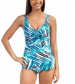 Penbrooke Graphic Elements Cross Over Sarong One Piece