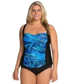Delta Burke Plus Size Tigress Twist Shirred Tankini Top