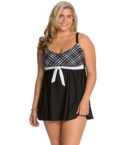 Delta Burke Plus Size Peek a Boo Scoopneck Swim Dress