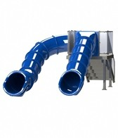 Spectrum Double Flume Slides on Right & Left Rear Stair Pool Slide