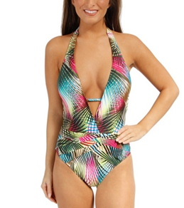 Kenneth Cole Palms Up Plunge One Piece