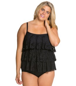 Kenneth Cole Island Fever Plus Size Triple Tiered Tankini Top