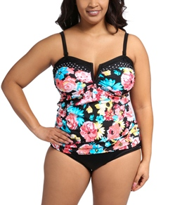 24th & Ocean Plus Size Frenchie Bandeau Tankini Top