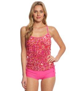 Reebok Fitness Hannah Pink Side Shirred Print Tankini Top