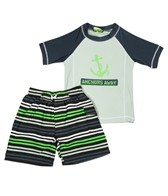 Jump N Splash Boys' Anchor S/S Rashguard Set w/FREE Goggles (4-14)