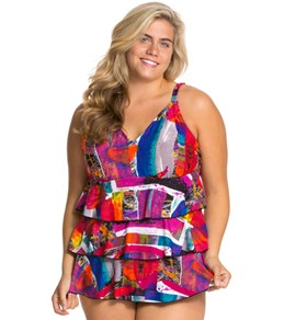 Ceeb Just Too Kool Plus Size V-Neck One Piece