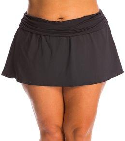 La Blanca Plus Size Solid Shirred Band Slit Skirted Hipster Bottom