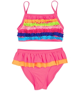 Flapdoodles Girls' Rouched Colorblocked Tankini Set (4-6X)