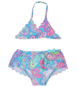 Hula Star Girls' Speckled Paisley Triangle Set (4-6X)
