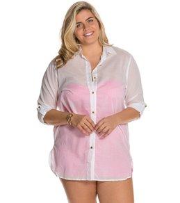 Anne Cole Plus Size Boyfriend Shirt