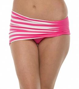Anne Cole Stripe & Tuck Asymetric Side Shirred Swim Skirt Bottom