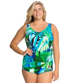 T.H.E. Animated Amazon Plus Size Classic Sarong Sheath Mastectomy One Piece