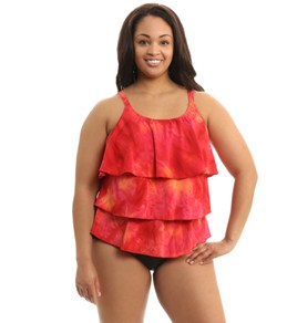 Topanga Sunrise Plus Size Triple Tier Mastectomy Tankini Top