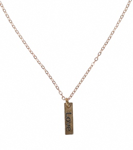 Flea Market Girl Love Bronze Charm Necklace