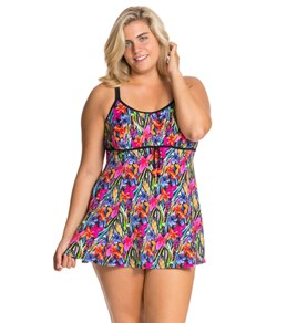 Fit4U Brush Stroke Plus Size Drawstring Swim Dress