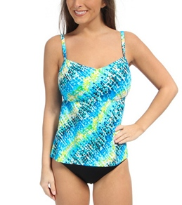 South Point Painted Seaglass D/DD Cup Long Board Tankini Top