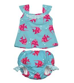 iPlay Girls'  Aqua Angelfish Swim Diaper Tankini Set (6mos-3yrs)